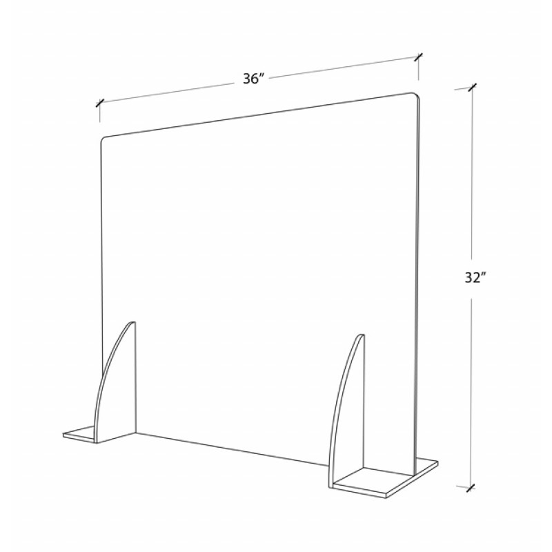 Premium Cough & Sneeze Guard 32h x 36w 6mm Acrylic (With stabilizer)  Bottom closed